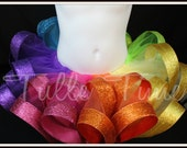 Candyland Rainbow Glitter birthday ribbon trim trimmed tutu size 6-12m, 12m 18m 2t 3t