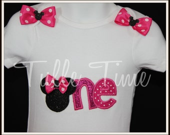 One 1st First hot pink Minnie Mouse birthday onesie ONLY size 6-12m, 12m or 18 m