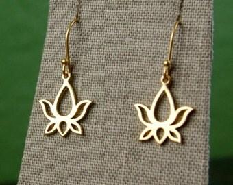 Large gold lotus charm earrings, gold lotus, gold earrings, lotus earrings, flower earrings, flower charms, matte gold, botanicals