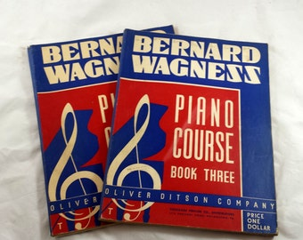 Vintage Piano Lesson Music Books. Bernard Wagness Books 2, 3. Sheet Music Books. 1939. Red White & Blue. 4th of July. Over 200 Pages. Music