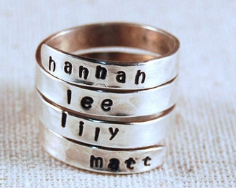 Hand Stamped Ring Personalized Mothers Ring Name Ring Wrap Ring Custom Ring Sterling Silver Ring