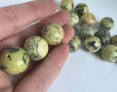 Huge Natural Yellow Turquoise Round Sphere Beads DESTASH 17 mm