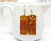 SALE Red Creek Jasper and Sterling Earrings - Golden Rusty Brown Earrings - Gemstone Earrings - Oblong Earrings - Womens Jewelry