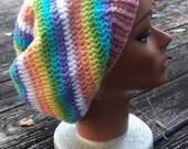 Pastel rainbow hippie slouch beanie hat