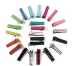 "25 STITCH - Fully or Partially Lined - 1.75"" (45mm) Alligator Clips - No- Slip - Saddle Stitch Ribbon Lined Hair Clips - Made To Order"