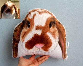 Custom Pet Portrait Plush Pillow, Stuffed Bunny Plush Pillow , Personalized pet pillows, gift for pet lovers