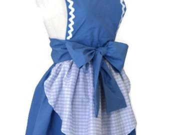 Dorothy Apron Blue Gingham Pinup Apron Pin up Country Girl Retro 50s Apron Halloween Costume Womens Medium