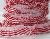 """Red Gingham Elastic Ribbon, 3/4"""" by the yard, Elastic Ruffle Ribbon, Crafts, Sewing, Gingham Trim, Baby Decor, Home Decor, Patterned Ribbon"""