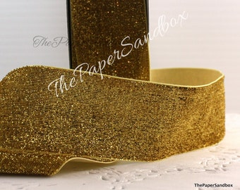 "Wide Gold Glitter Ribbon, 1.5"" wide by the yard, Christmas, Gift Wrapping, Party Supplies, Gold Glitter Trim, Floral Arranging, Bows"
