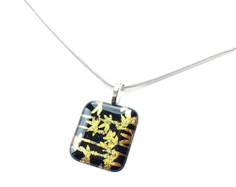 Pendant Necklace, Gold Leaves, Dichroic Jewelry