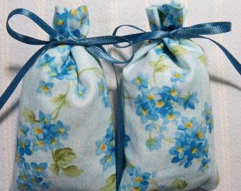"""Blue 3""""X2"""" Sachet-'Patchouli Rose' Fragrance-Forget-Me-Not Floral Sachet-Cotton Fabric Herbal/Botanical Sachet-Cindy's Loft-397"""