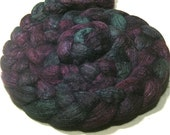 BFL & tussah silk roving - hand dyed spinning and felting wool - 4.8 oz Purple Dahlia - green purple combed wool top - hand painted wool