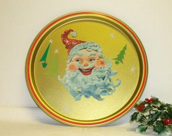 Atomic Tin Santa Claus Tray ,Great Graphics ,Holiday Serving Tray ,Great condition