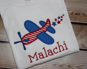 Personalized July 4th Red and Blue Airplane Shirt