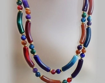 FALL SALE Vintage Marbled Lucite Necklace.  1970s Colorful Candy Bead Necklace.
