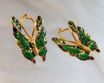 FALL SALE Vintage Blue Green Enamel Butterfly Earrings.  Large Gold Tone Butterfly Pierced Earrings.