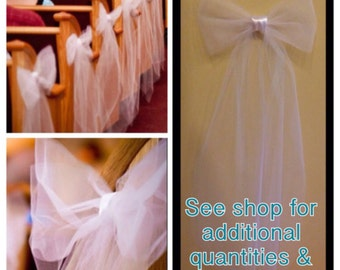 12 White or Ivory tulle/satin pew bows