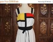 ON SALE 1980s Mondrian Color Block Cotton Sun Dress Sz M/L