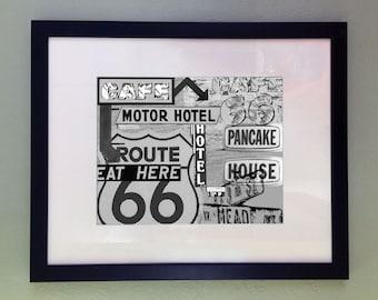 Route 66 Art Print, Printable Digital Art, Retro Art Print, Travel Wall Decor, Instant Download, Black and White Art, Arizona Southwest