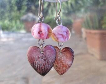 Lampwork Earrings, Enameled Heart Earrings, Romantic Handmade Jewelry Gift for Valentine's Day
