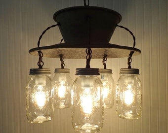 Lamp Goods's Mason Jar CHANDELIER Exclusive 5-Light Rustic Country Industrial Lamp