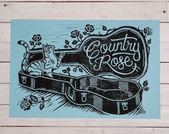 Country Rose - Blue Block Print