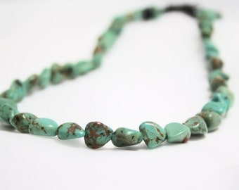 The Southwest After Midnight -Genuine Green Turquoise and Obsidian Choker