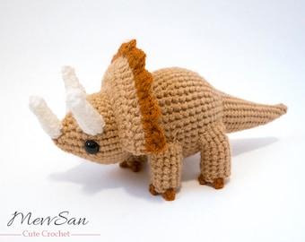 Crochet PATTERN PDF - Amigurumi Triceratops Dinosaur - amigurumi dinosaur pattern, crochet dinosaur, amigurumi dinosaur toy, softie