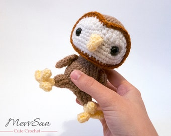 MADE to ORDER - Amigurumi Woodland Critter Owl - crochet animal plush, amigurumi owl toy, barn owl plush,  cute crochet bird, owl doll
