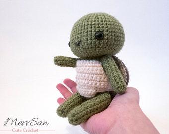 MADE to ORDER - Amigurumi Woodland Critter Turtle - crochet animal plush, amigurumi turtle toy, turtle plush, cute crochet turtle doll