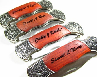 Customized Wood Handles, Set of 4, Personalized Engraved Pocket Knives, Etched Knives Groomsmen Gifts, Custom Groomsmen Favors Rosewood