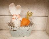 Bunny decor, spring decorations, Easter decor, burlap bunny, bunny pail, burlap decor, shabby chic, primative bunny, easter basket, chippy