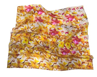 Hawaiian Scarf Silk Frangipani Plumeria Square Digitally Print Square