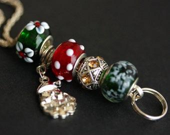 Christmas Lanyard. Badge Lanyard. Badge Holder. Holiday Lanyard. Red and Green Lanyard. ID Lanyard. Badge Necklace. Green and Red Lanyard.