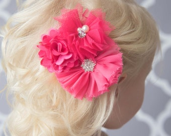 Hot pink hair clip, fuchsia hair clip, flower girl gift, girl birthday gift for her, photography prop, baby shower gift, hair accessory