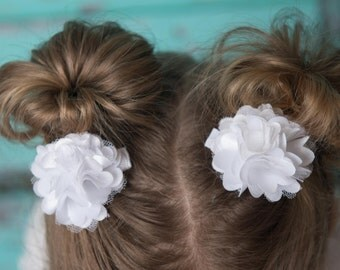 White Satin clips 2 white 2 inch Puffs Boutique Style Petite hair clips baby toddler child teen piggy tail wedding flower girl gift present