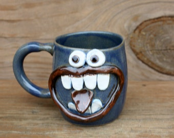 Valentines Day Love Mug. Googly Eyes Grinning Face Mug. Unique Husband Wife Boyfriend Girlfriend Gift. Blue Pottery Coffee Cup.