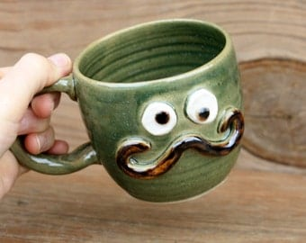 Mans Handlebar Mustache Mug. Funny Ceramic Coffee Cup. Forest Green. Fun Gifts for Him. Goofy Face Mug Hot Tea Cup. Husband Boyfriend Gifts.