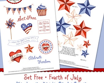 Set Free - Fourth of July - Full-Color Bible Journaling Art INSTANT DOWNLOAD Scripture Digital Printable Christian