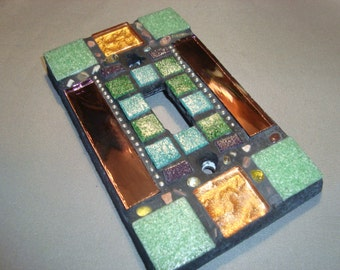 MOSAIC LIGHT SWITCH Plate - Single Wall Plate, Shades of Green, Copper