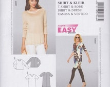 Burda Style Pattern 7066  Long Sleeved T-Shirt with Contrast Neckband and V-Neck Dress with Above Elbow Sleeves and Tie Belt Sizes 10 - 24