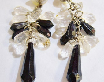 vintage black and clear beaded long drop and dangle pierced earrings