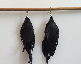Black LEATHER feather earrings leather earrings feather earrings leather feather earrings with gold chain