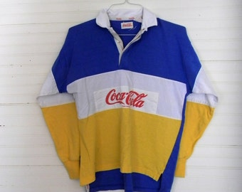 Vintage Coca Cola Shirt, 1990s Coca Cola Sweatshirt, Men's Novelty Sweatshirt, 1980s Color Block Shirt, Coca Cola Collectibles, 80s Shirts