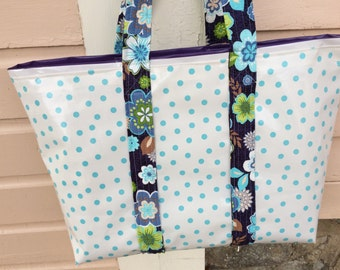 Large  oilcloth tote bag with aqua polka dots and purple stripes