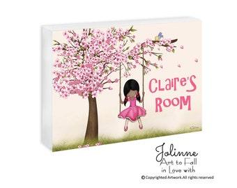 African American girl door sign, cherry blossom door plaque, personalized gift for children, girls room art, pink sign,cherry blossom girls