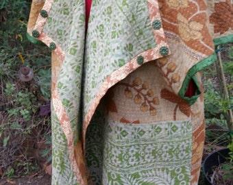 SALE Long Oversized Vintage Indian Kantha Quilt Vest