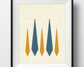 Mid Century Modern Print - Lamp - PRINTABLE, Instant Download - Blue, Orange and Tan Retro Styled Print, Mid-Century Poster, 3 Sizes