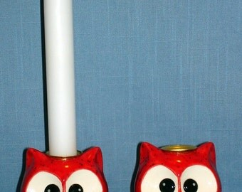 Owl Candlesticks, Neon Red Spinkles