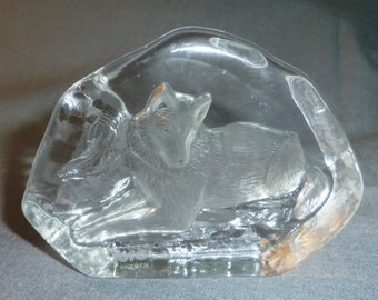 "Crystal Sculpture Paperweight, Wolf Lying Down by Nybro Sweden 11 cm x 8 cm (4.25"" x 3 1/8"")"